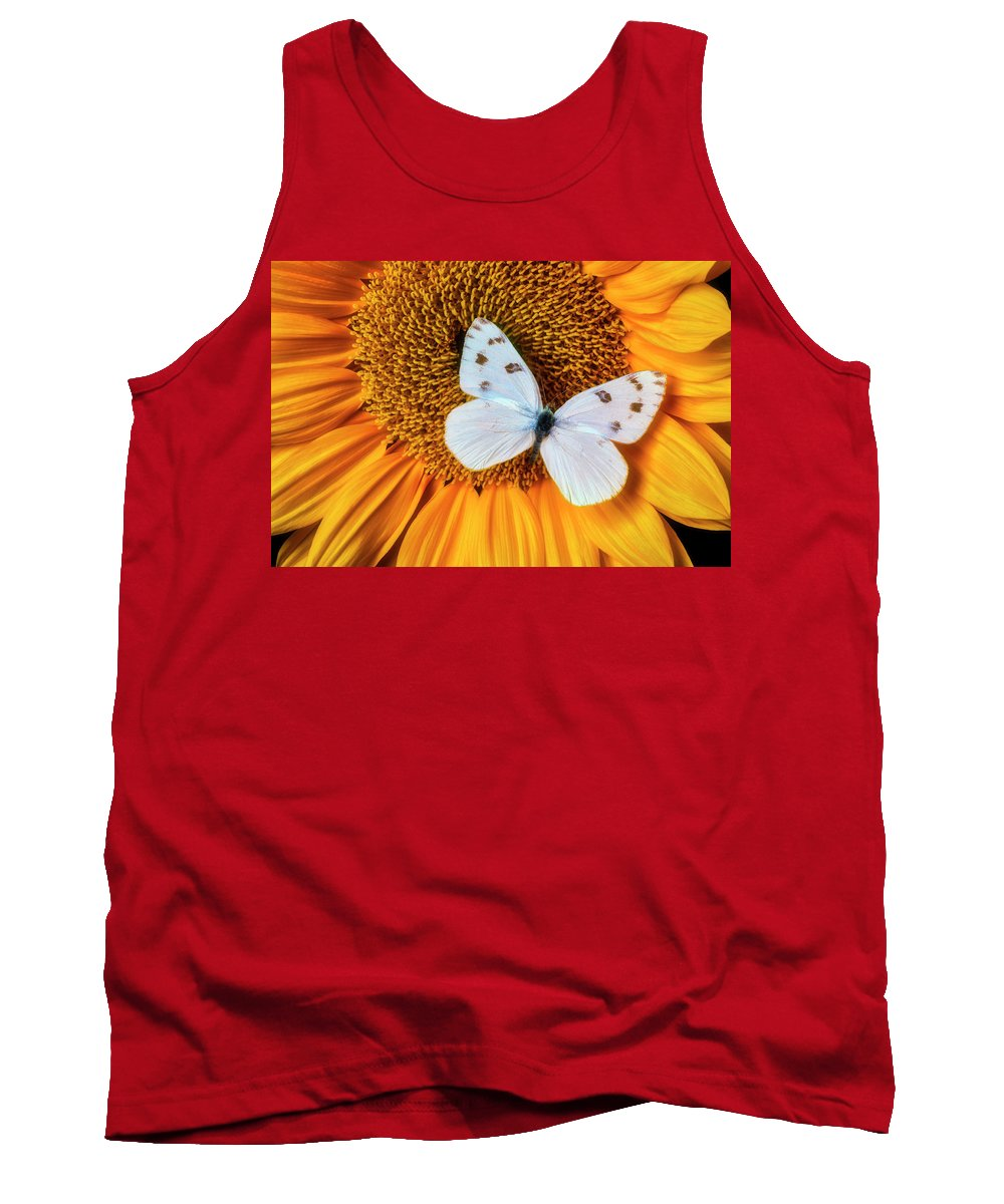 Yellow Tank Top featuring the photograph Beautiful White Butterfly On Sunflower by Garry Gay
