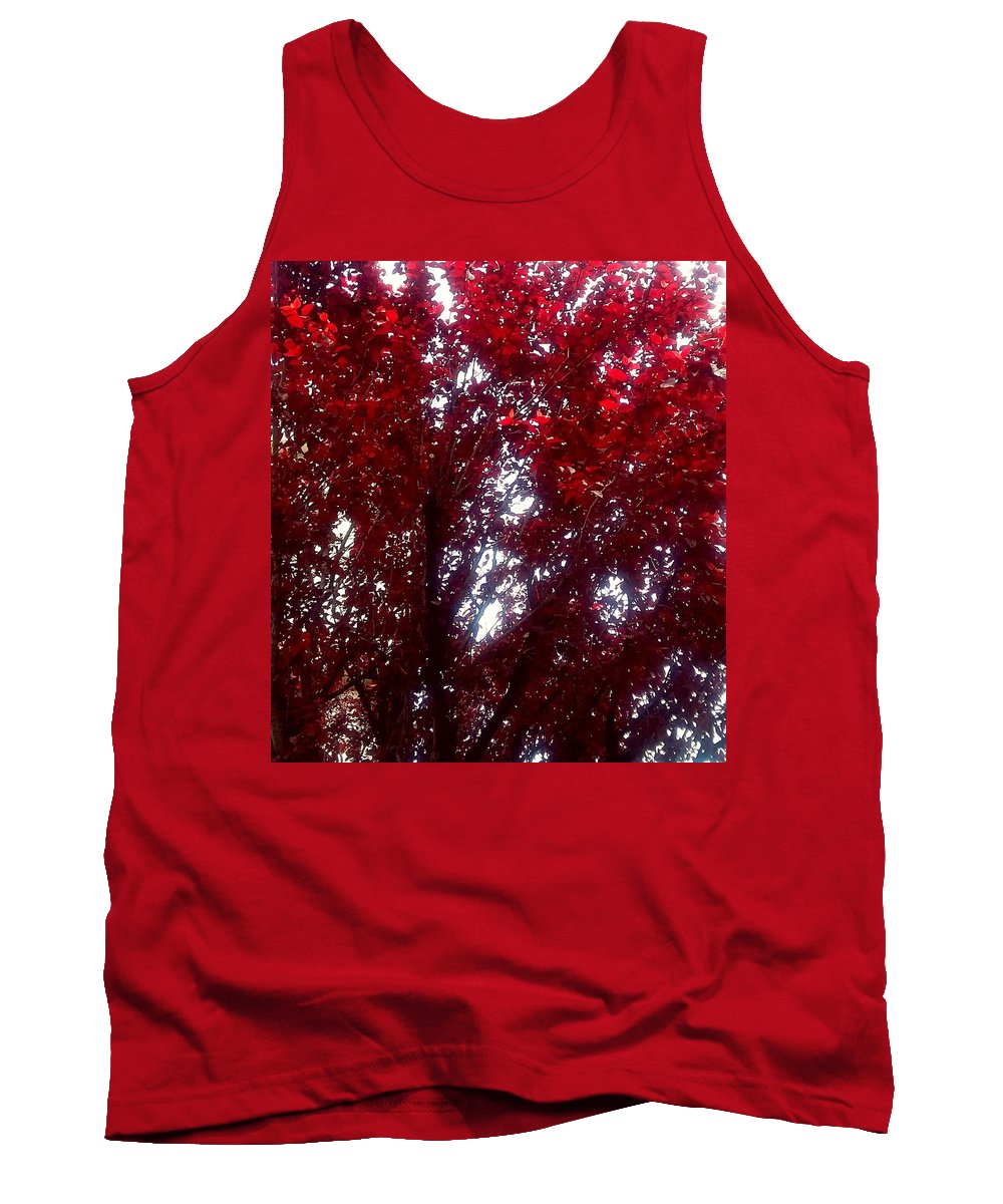 Multiple Leafs Tank Top featuring the photograph Beauty-full Red by ONDRIA-UNIqU3-Pics- Admin