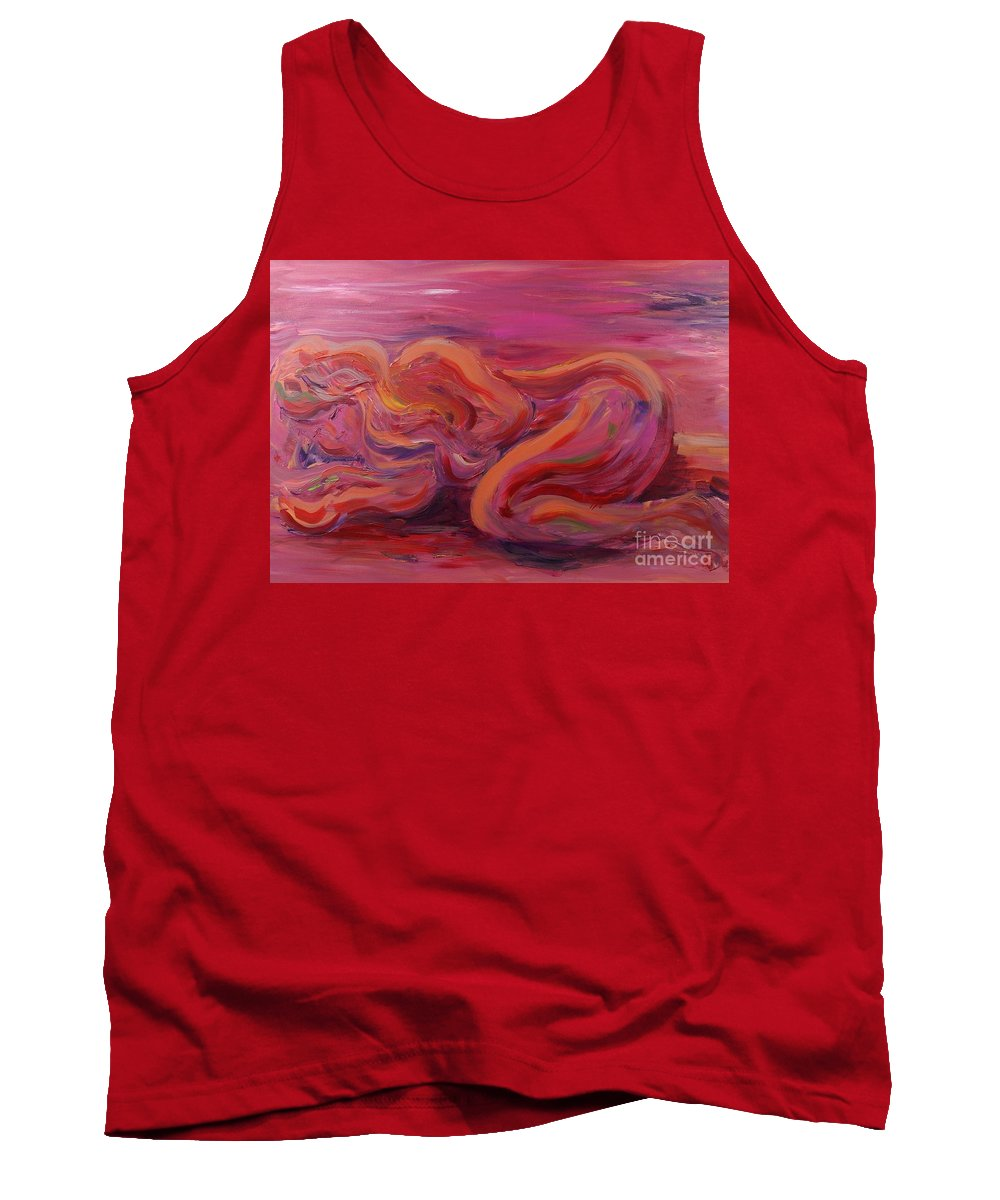 Nude Tank Top featuring the painting Beauty by Nadine Rippelmeyer