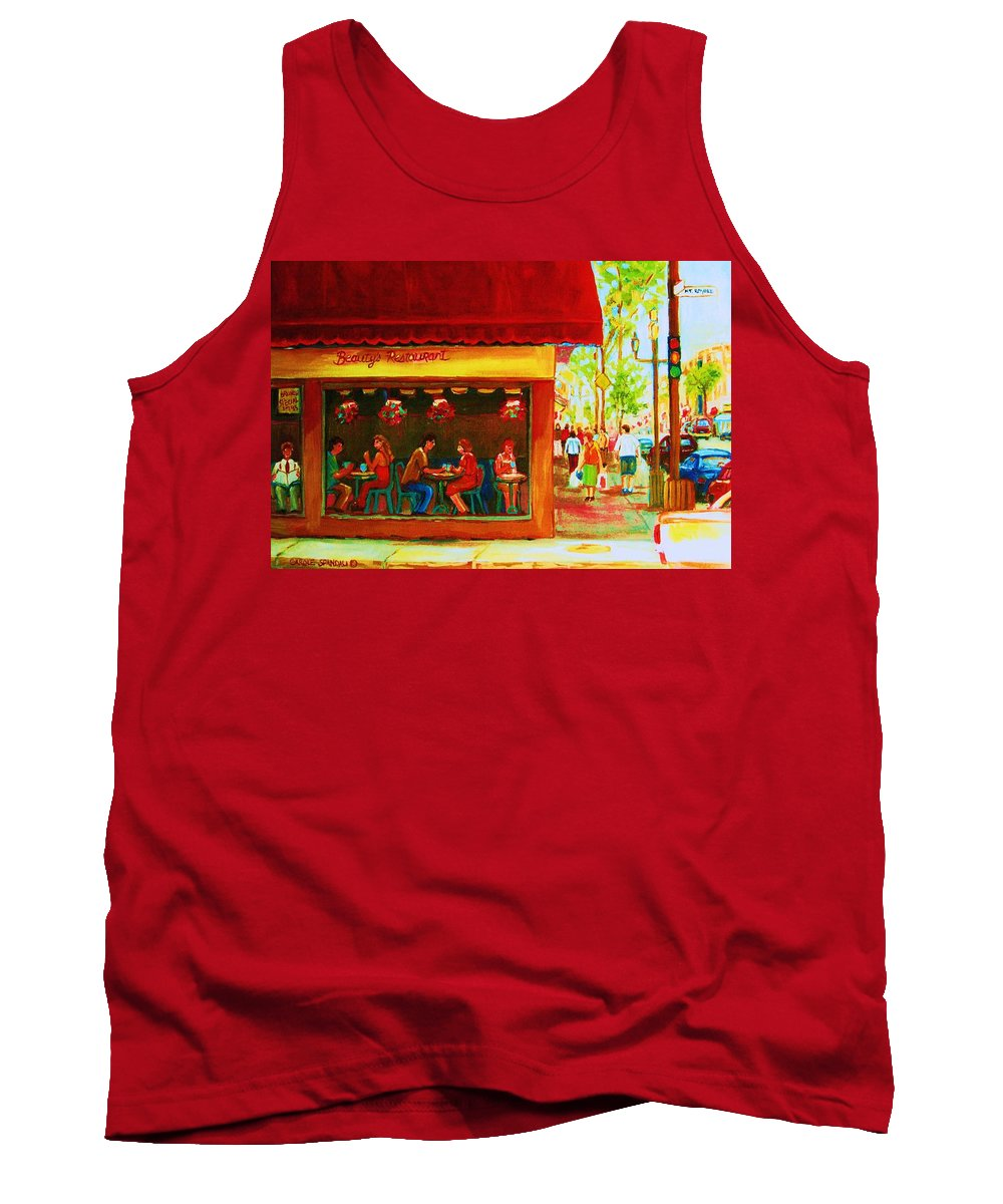 Beautys Cafe Abd Luncheonette Tank Top featuring the painting Beautys Cafe With Red Awning by Carole Spandau