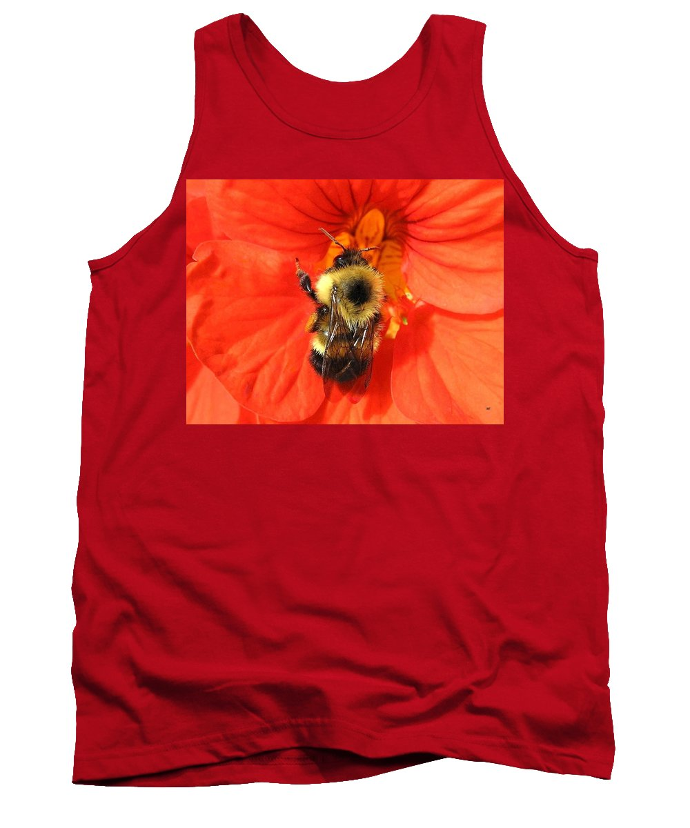 Bee Tank Top featuring the photograph Bee And Nasturtium by Will Borden