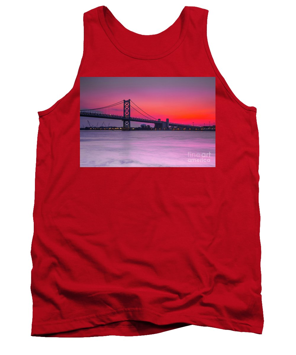Sunrise Tank Top featuring the photograph Ben Franklin Bridge - Sunrise by Randy Kostichka