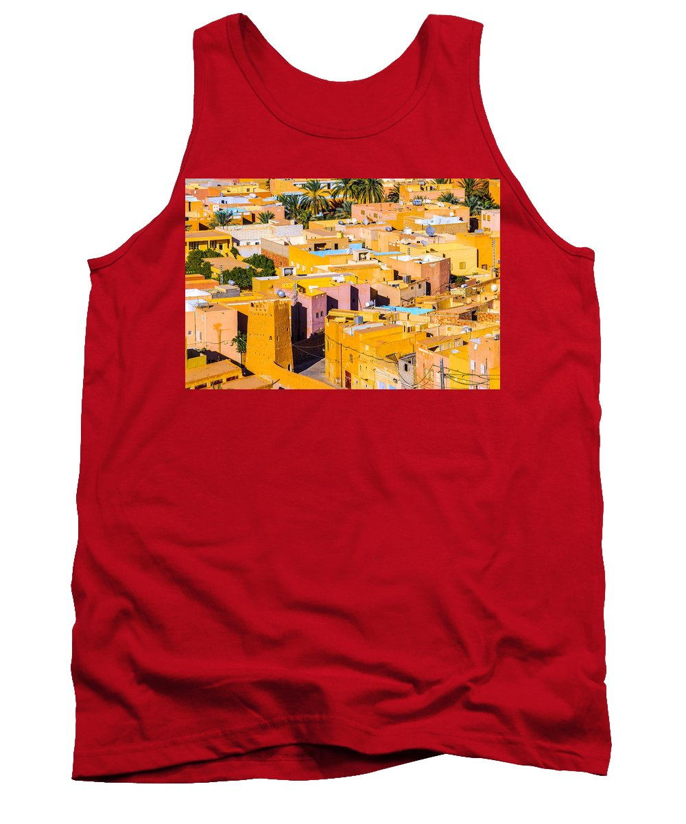 Judith Barath Art Tank Top featuring the painting Beni Isguen Houses From The Watch Tower by Judith Barath