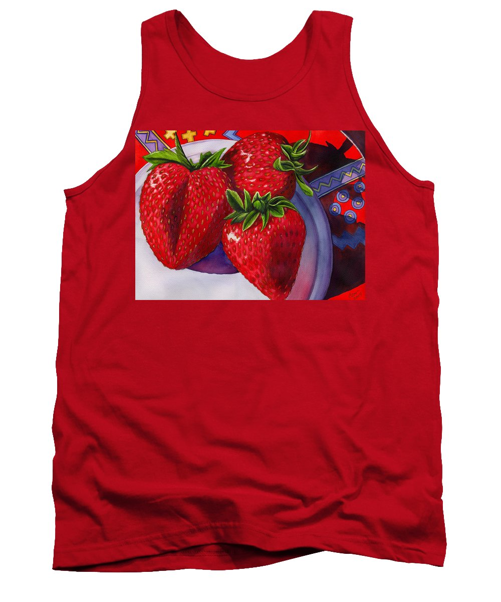 Strawberries Tank Top featuring the painting Berry Berry Berry Good by Catherine G McElroy