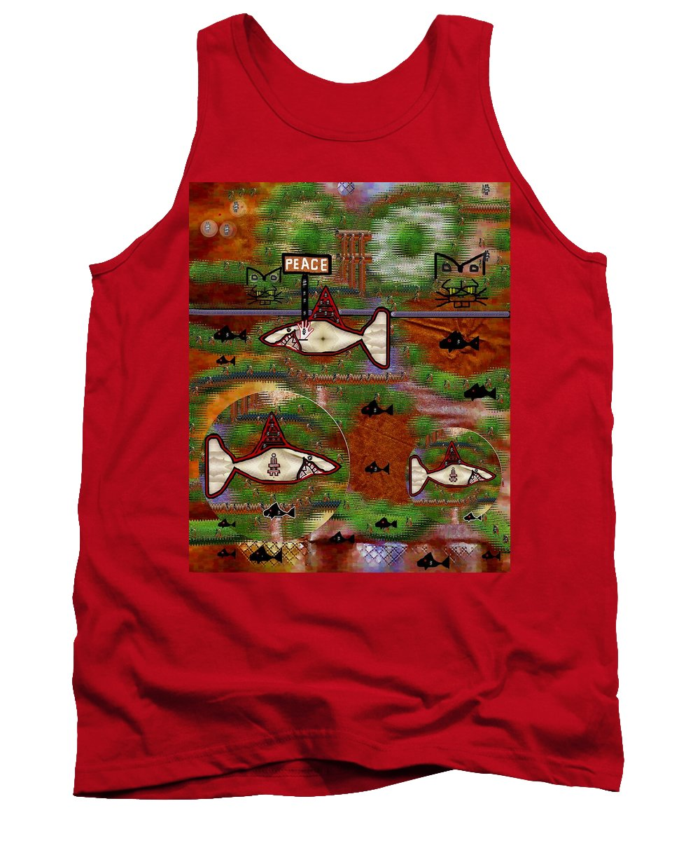 Shark Tank Top featuring the mixed media Beware Of The Dog by Pepita Selles