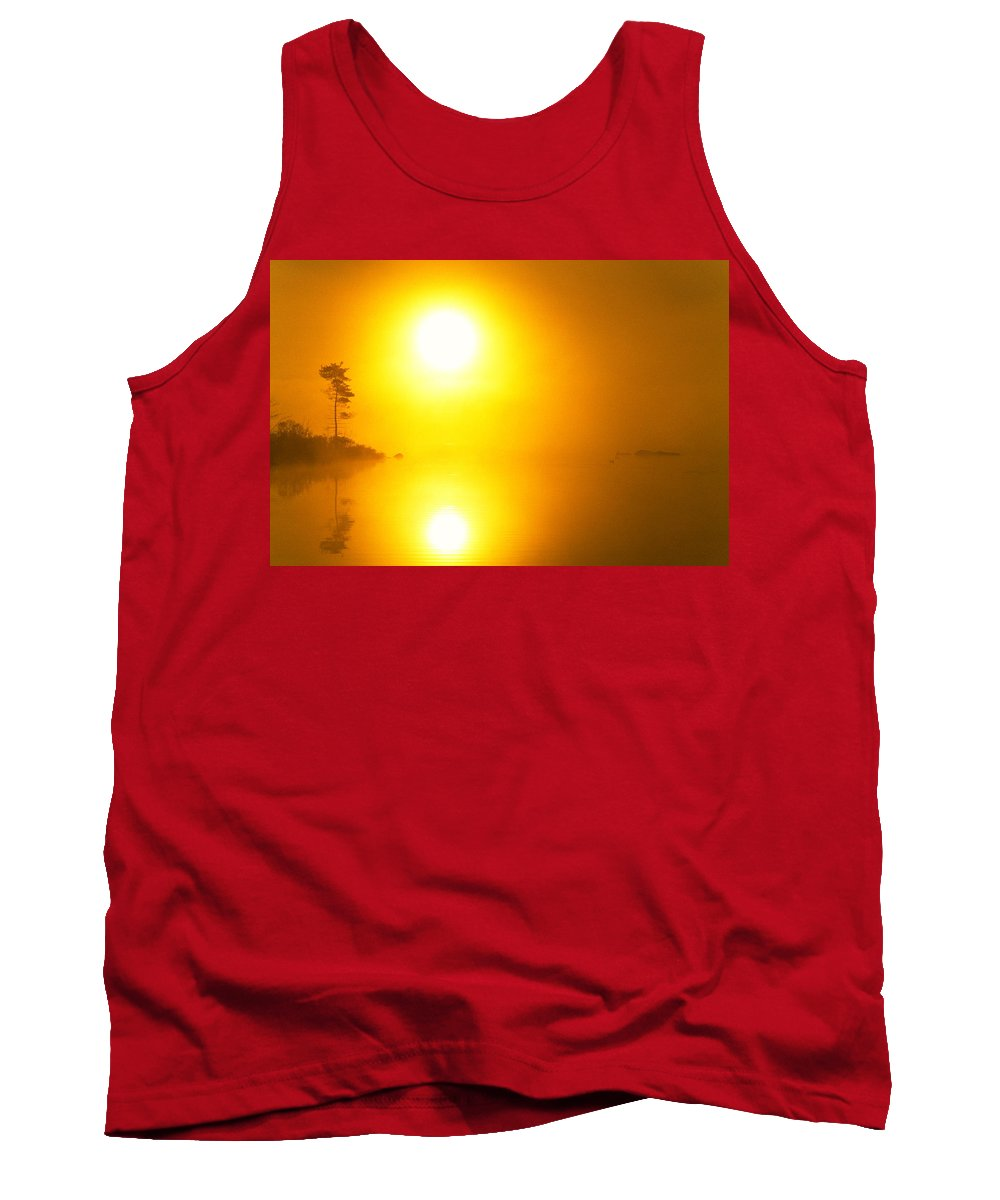 Misty Lake Tank Top featuring the photograph Big Sun And Lone Pine by Irwin Barrett