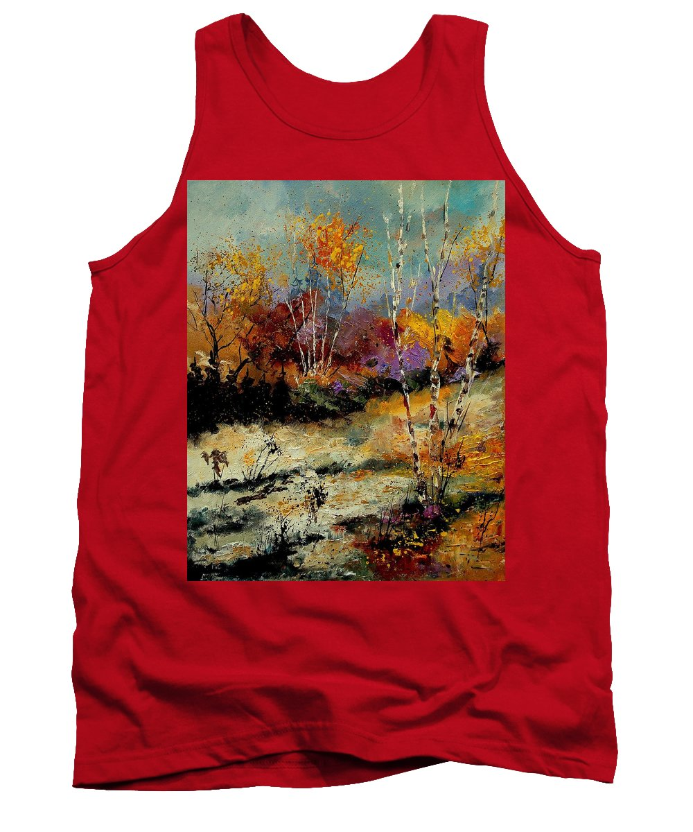Tree Tank Top featuring the painting Birchtrees 459090 by Pol Ledent