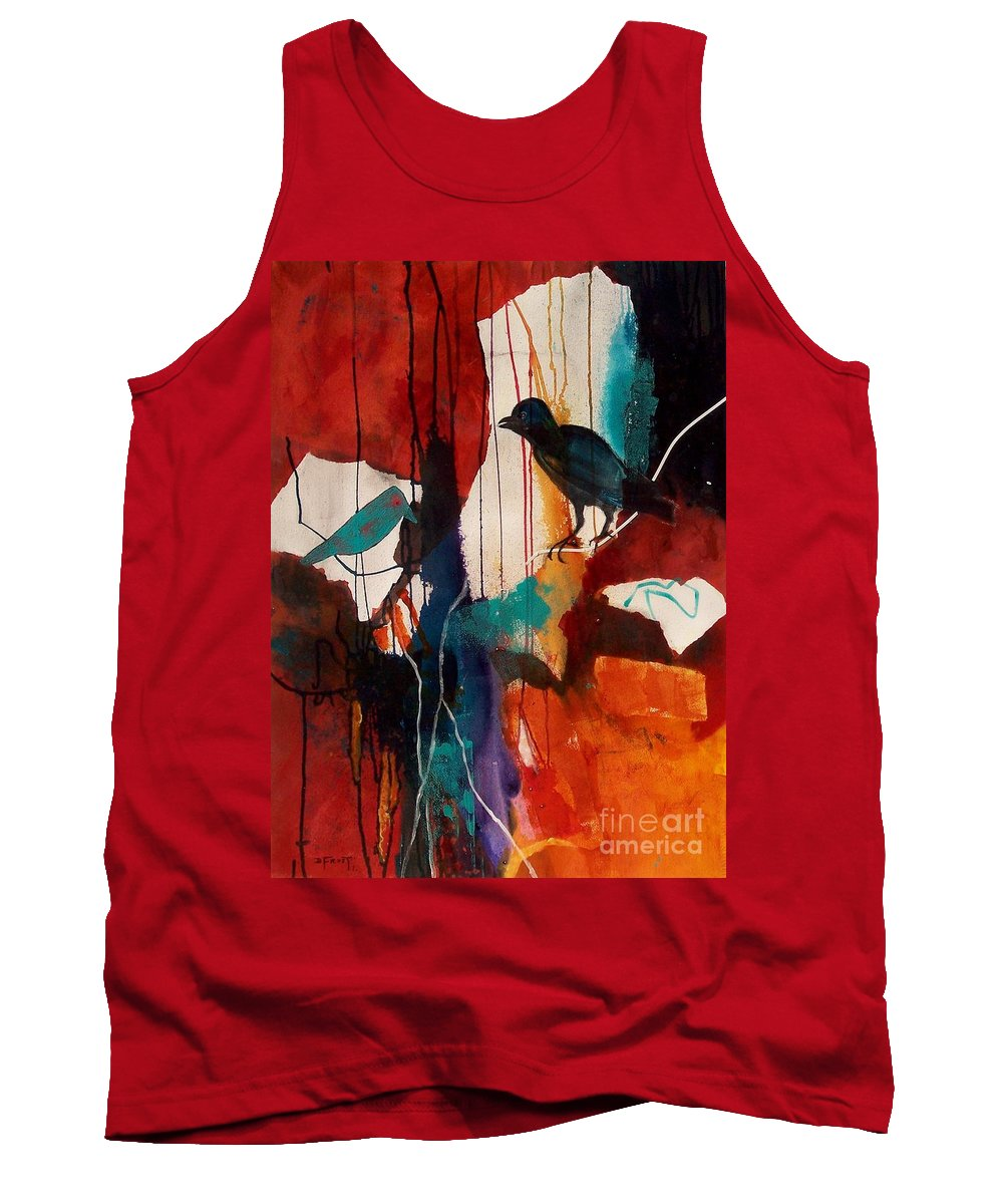 Abstract Expressionism Tank Top featuring the painting Bird's Eye View by Donna Frost