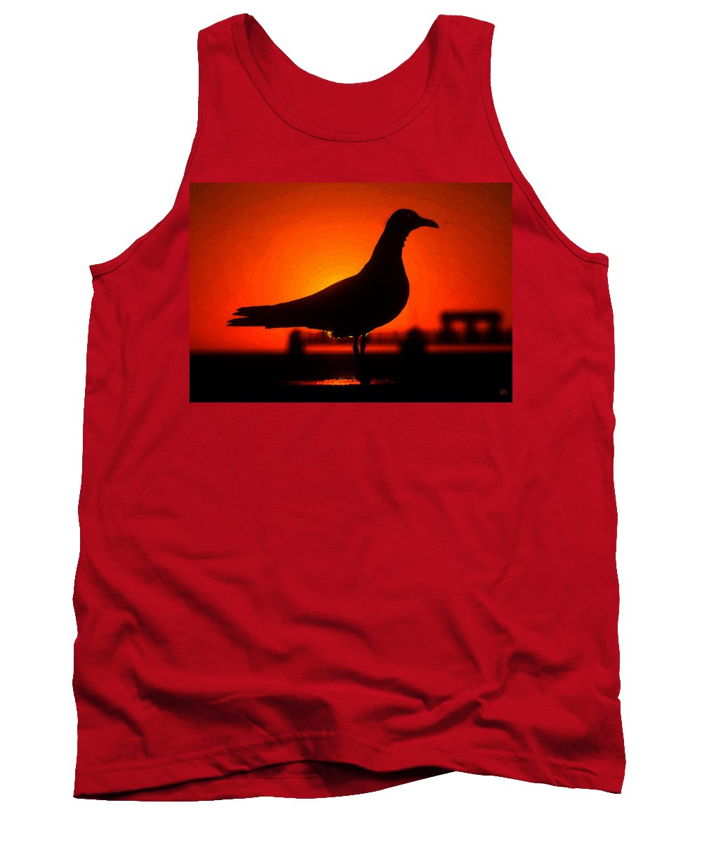 Bird Tank Top featuring the painting Black Bird Red Sky by David Lee Thompson