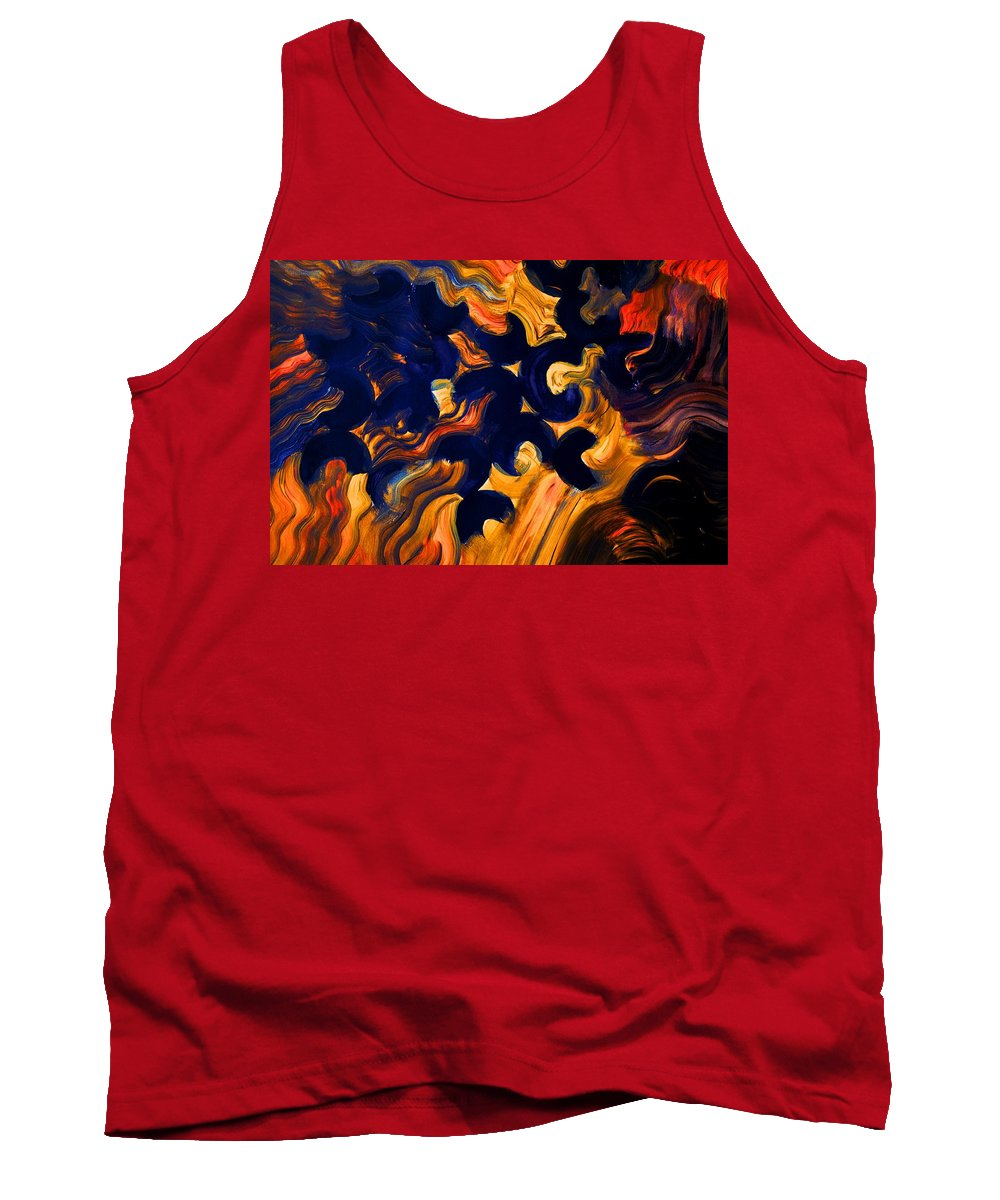 Abstract Tank Top featuring the painting Black Fire by Valerie Dauce