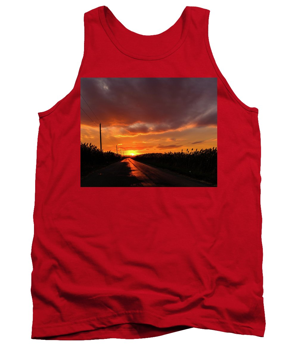 Port Mahon Tank Top featuring the photograph Blood And Gold In The Road Sunset At Portmahon Delaware by David Wolanski