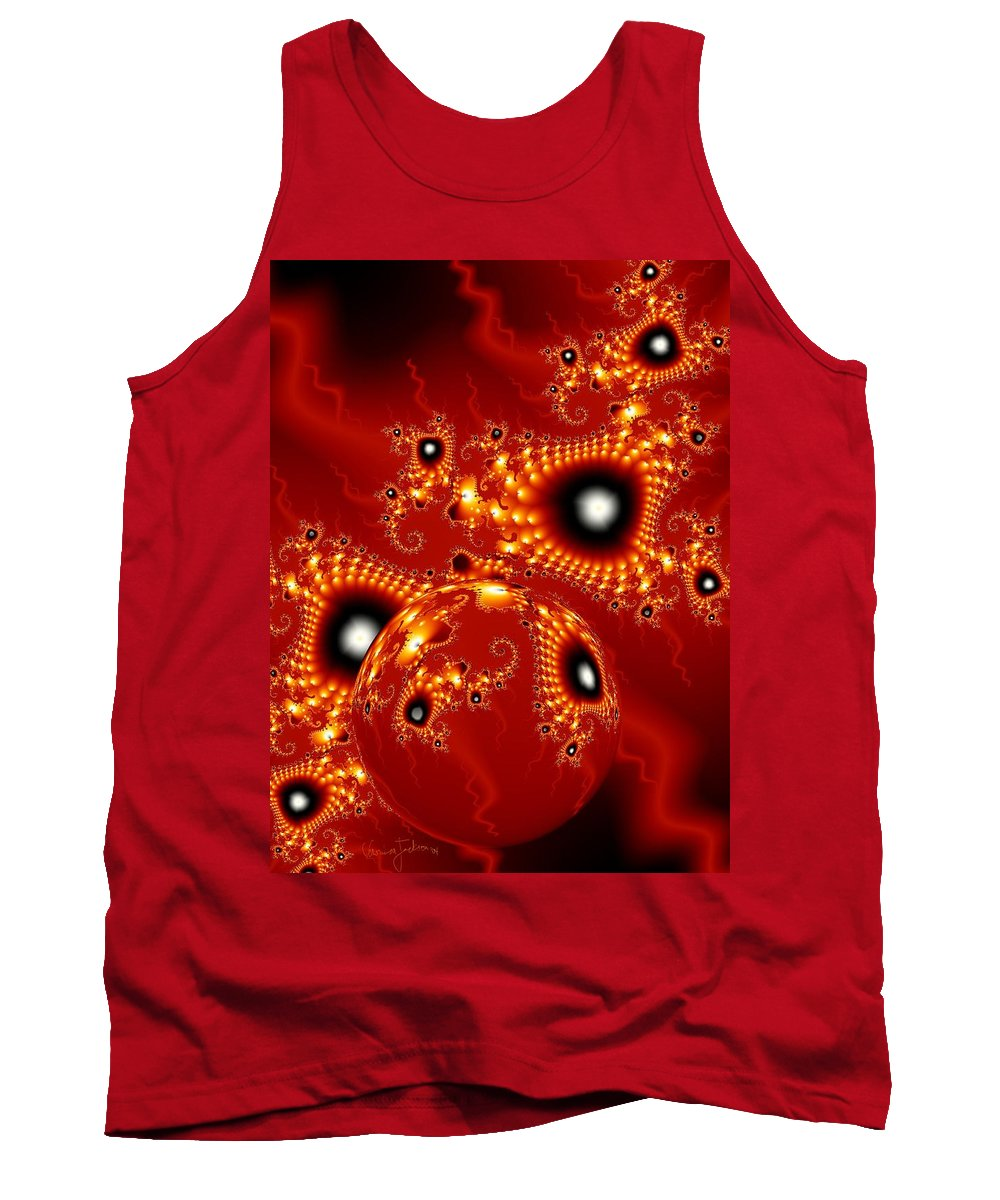 Fractal Passion Love Red Sphere Tank Top featuring the digital art Blood In Love by Veronica Jackson