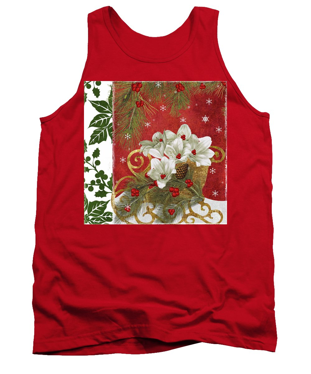 Christmas Tank Top featuring the painting Blooming Christmas II by Mindy Sommers