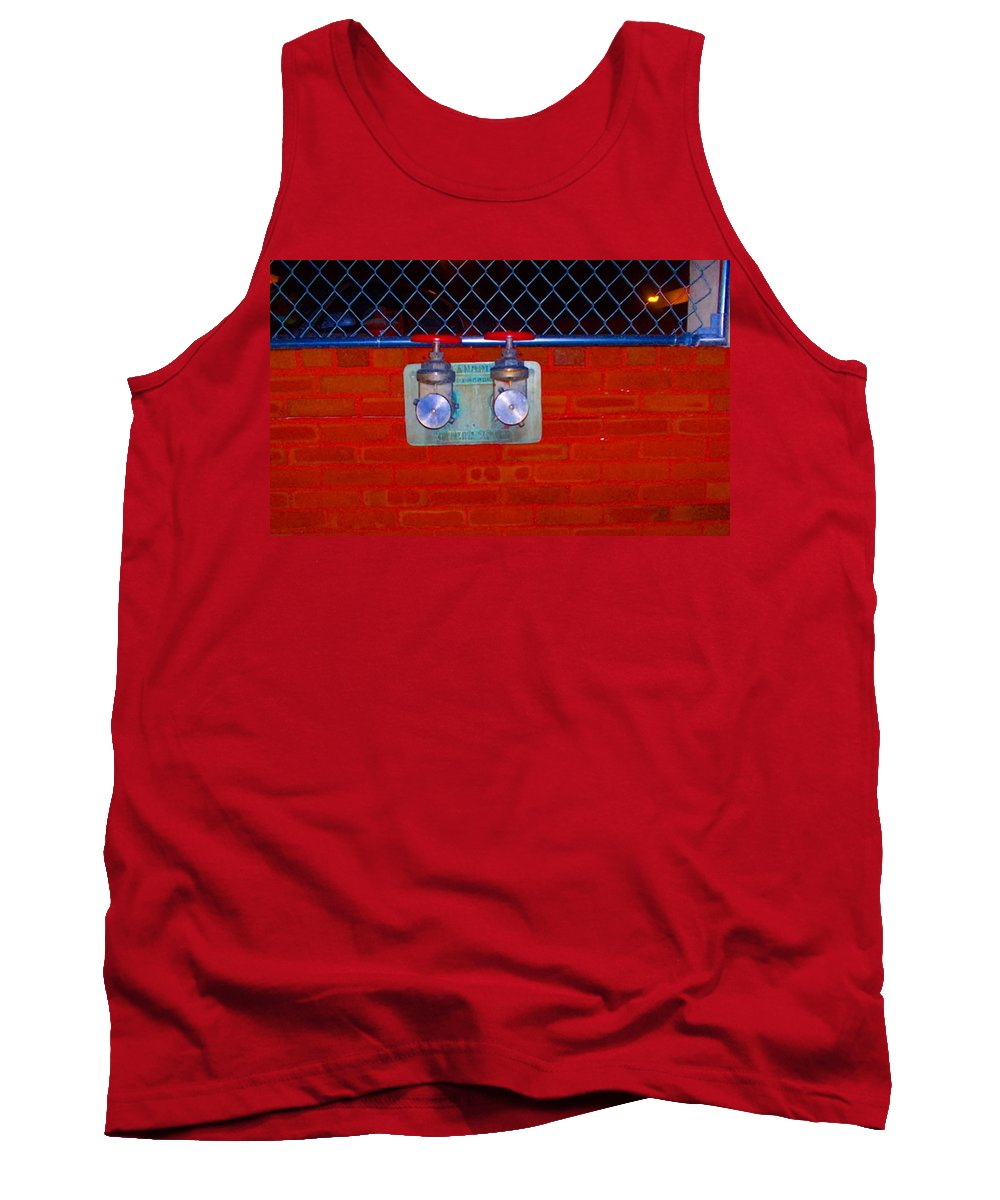 Color Photograph Tank Top featuring the photograph Blue And Red Pipe by Thomas Valentine