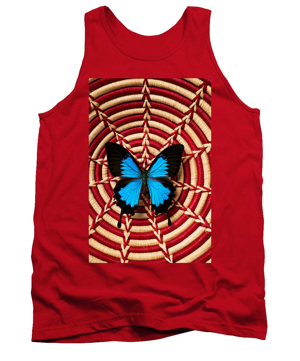 Butterfly Tank Top featuring the photograph Blue Black Butterfly In Basket by Garry Gay