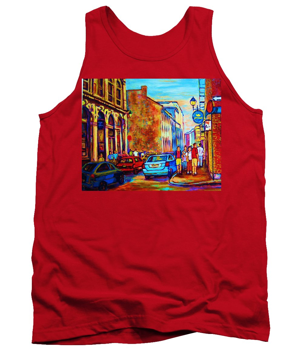 Montreal Tank Top featuring the painting Blue Cars At The Resto Bar by Carole Spandau