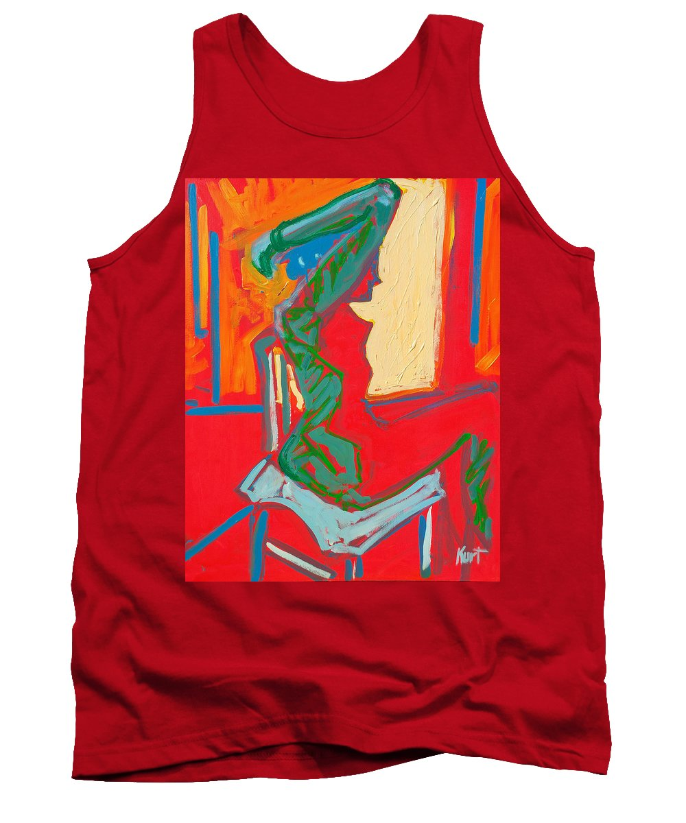 Woman Tank Top featuring the painting Blue Chair Study by Kurt Hausmann