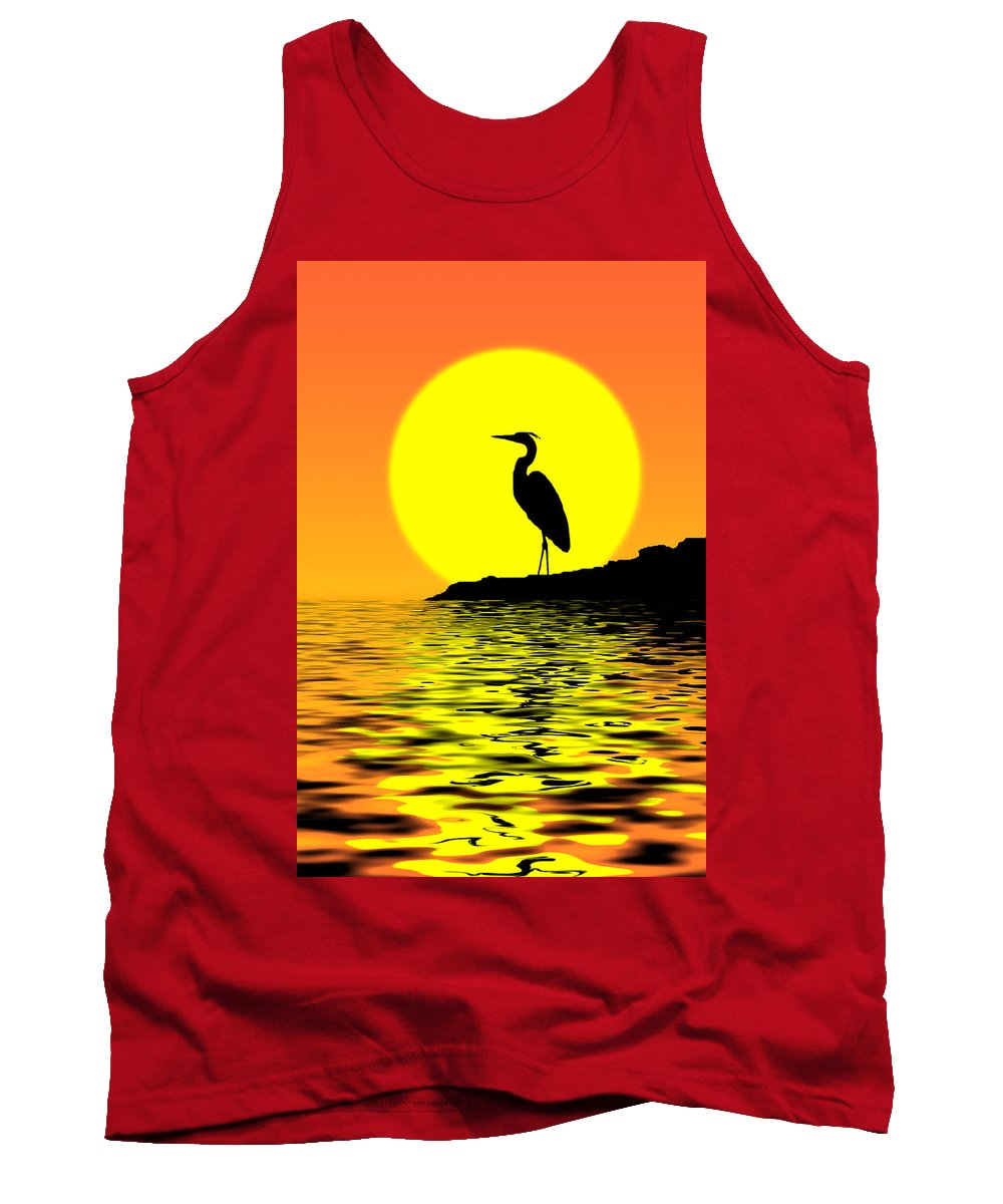 Heron Tank Top featuring the photograph Blue Heron Sunset by Rich Leighton
