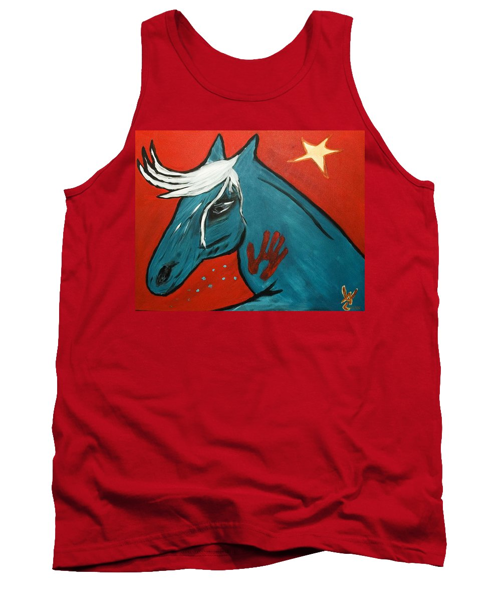Horse Tank Top featuring the painting Blue Pony -001 by Will Logan