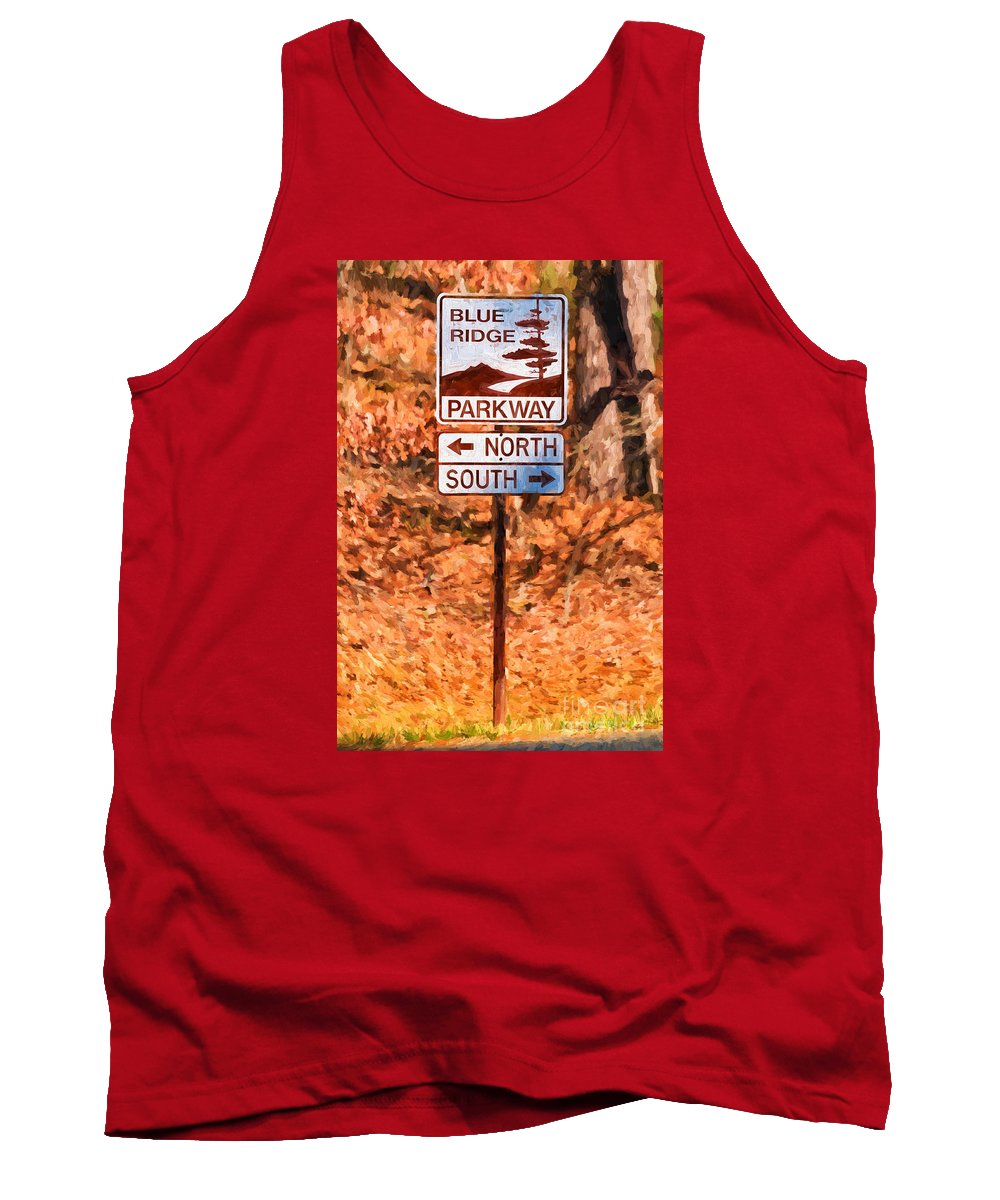 Blue Tank Top featuring the photograph Blue Ridge Parkway Sign by Les Palenik