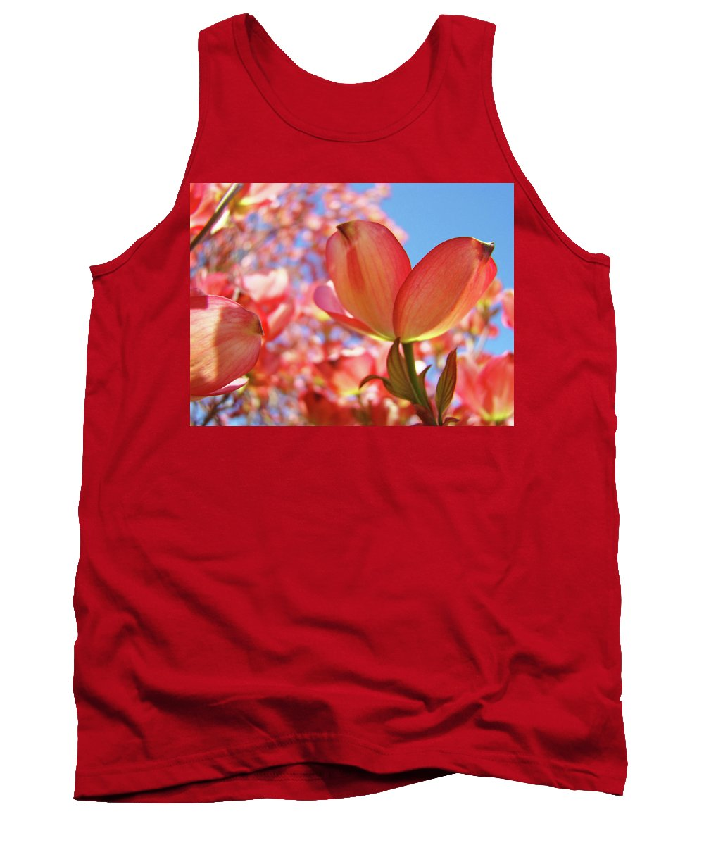 Dogwood Tank Top featuring the photograph Blue Sky Pink Azalea Dogwood Flowers 4 Landscape Nature Artwork by Baslee Troutman