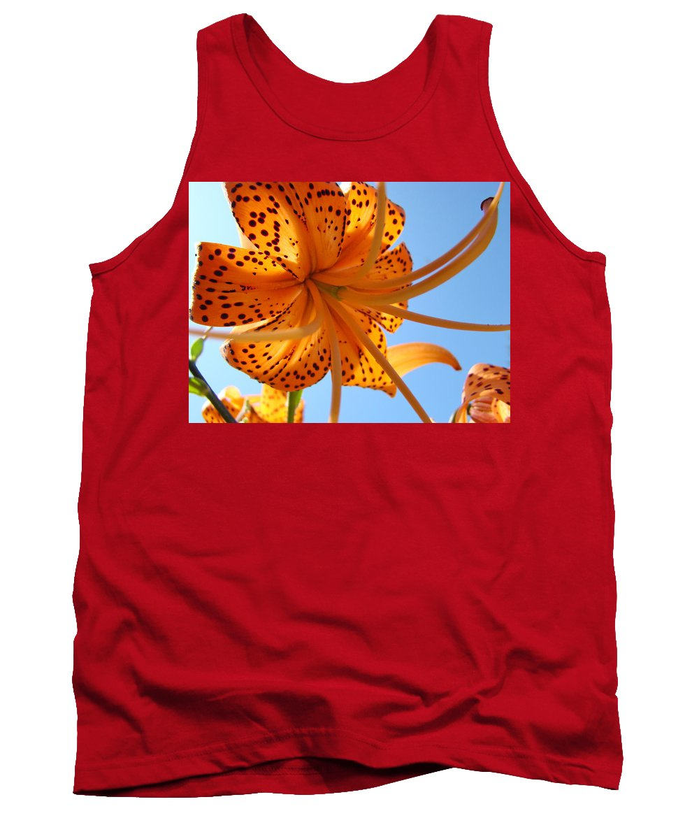 Lilies Tank Top featuring the photograph Blue Sky Sunshine Tiger Lily Flowers Giclee Prints Baslee Troutman by Baslee Troutman