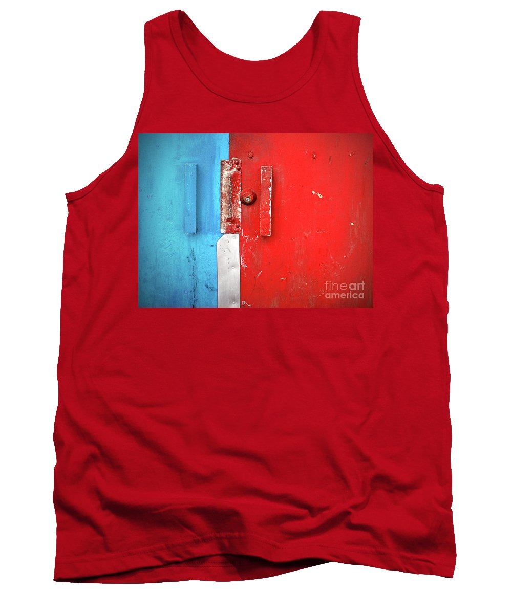 Urban Tank Top featuring the photograph Blue Wall Red Door by Tara Turner