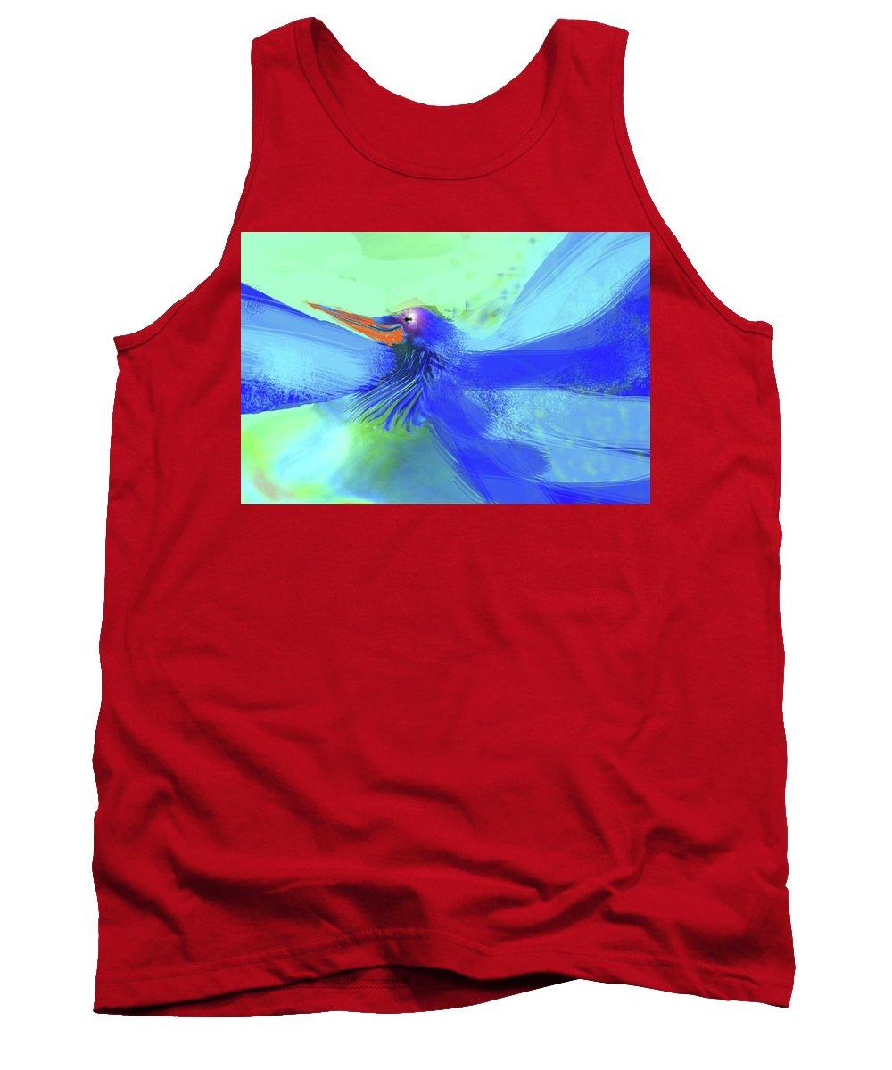 Birds Tank Top featuring the digital art Bluebird Of Happiness by Wendy Sheridan