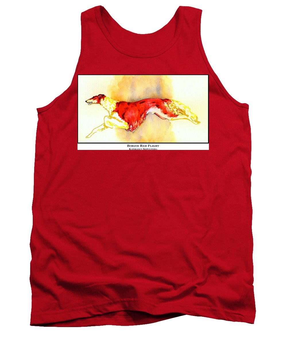 Borzoi Tank Top featuring the digital art Borzoi Red Flight by Kathleen Sepulveda