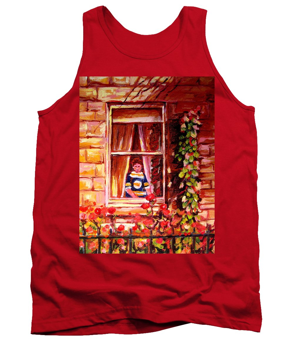 Boston Bruin Fan Tank Top featuring the painting Boston Bruin Fan by Carole Spandau