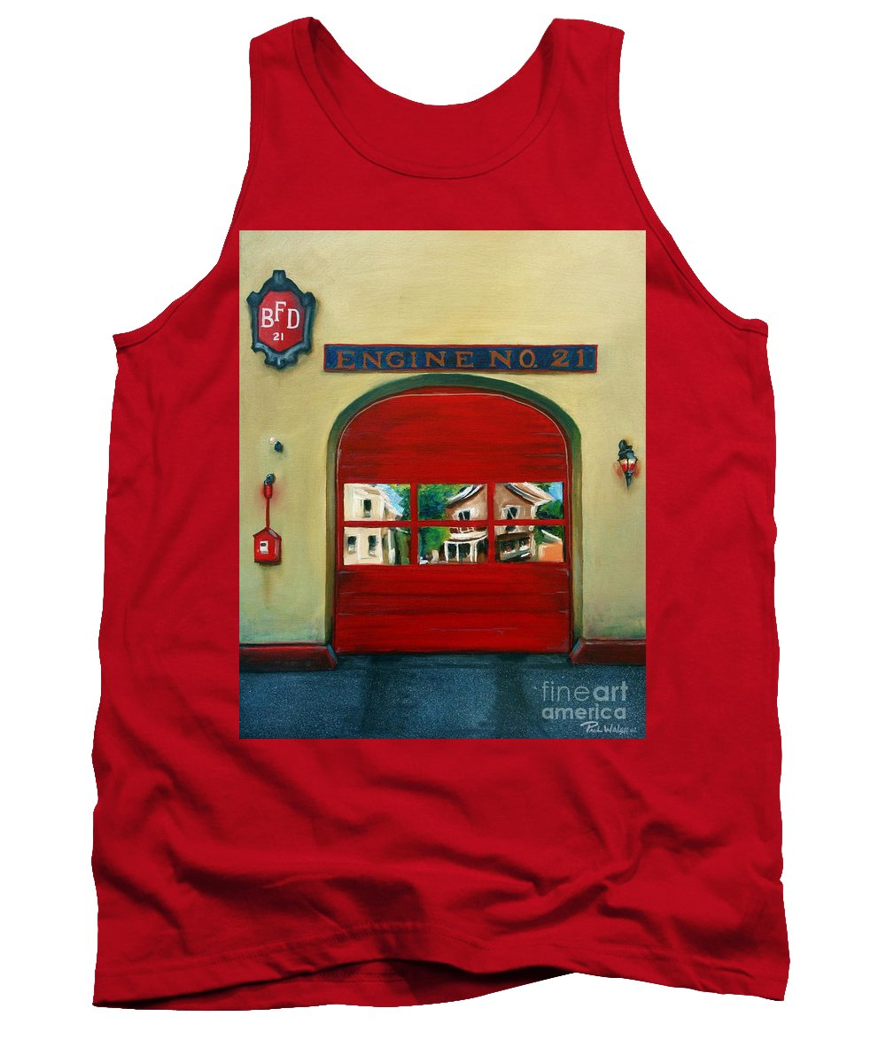 Fire House Tank Top featuring the painting Boston Fire Engine 21 by Paul Walsh
