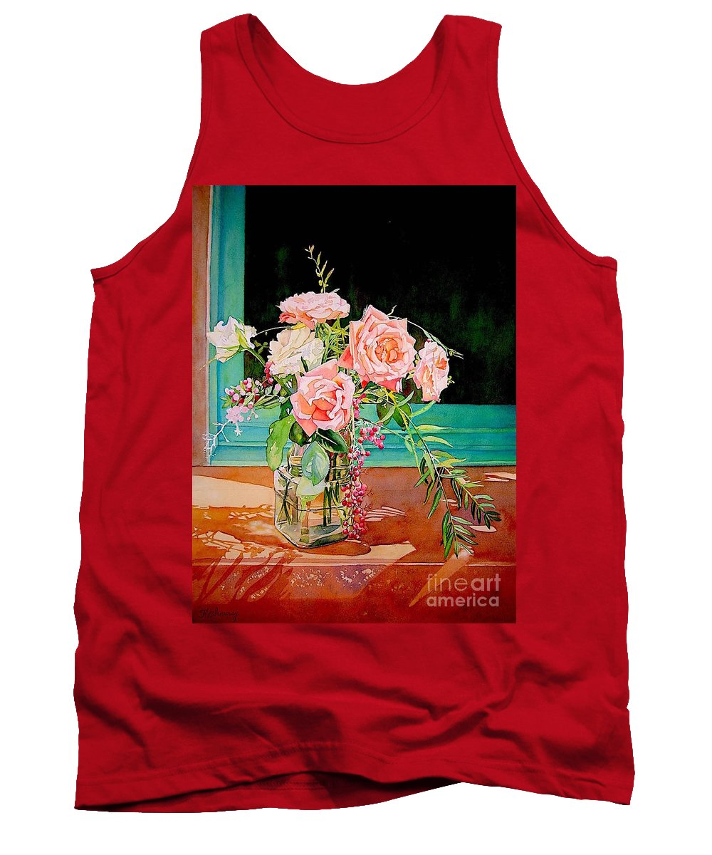 Flower Tank Top featuring the painting Bouquet De Roses - Marrakech by Francoise Chauray