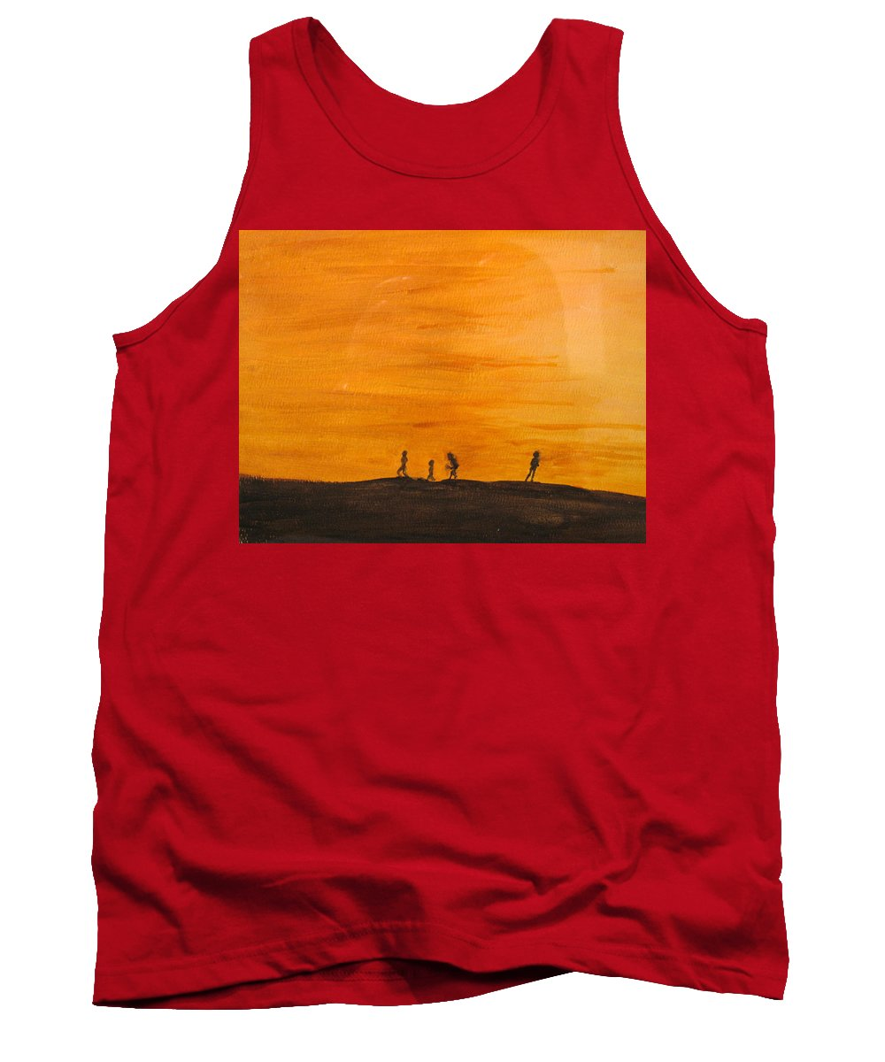 Boys Tank Top featuring the painting Boys At Sunset by Ian MacDonald