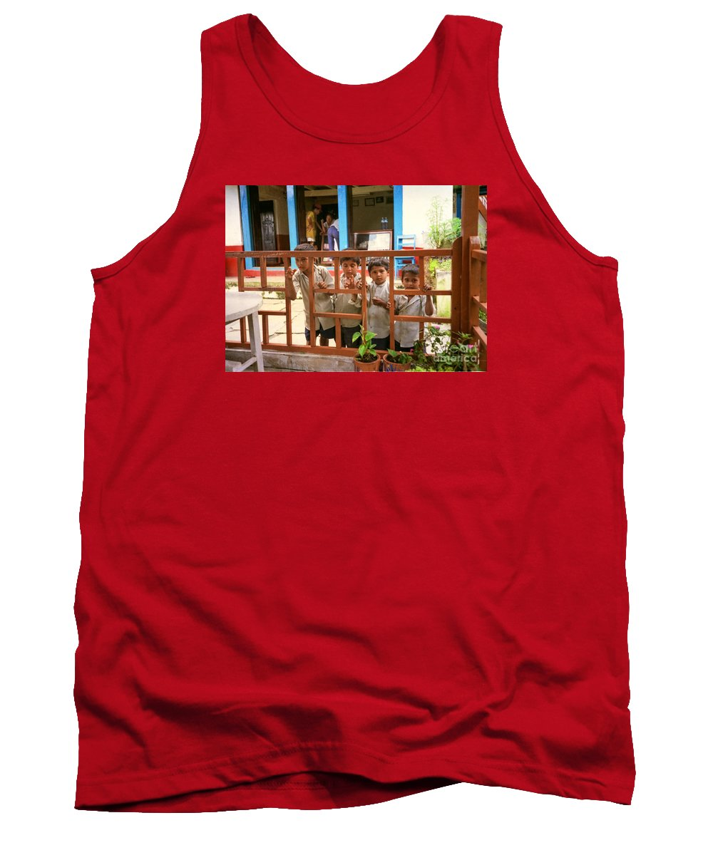 Nepal Tank Top featuring the photograph Boys In Nepal Seeking Bandaids by Suzanne Luft