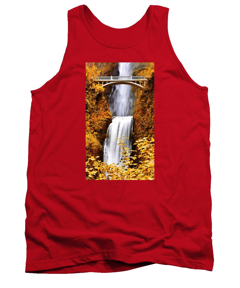Multnomah Falls Tank Top featuring the photograph Bridge Over Cascading Waters by Athena Mckinzie