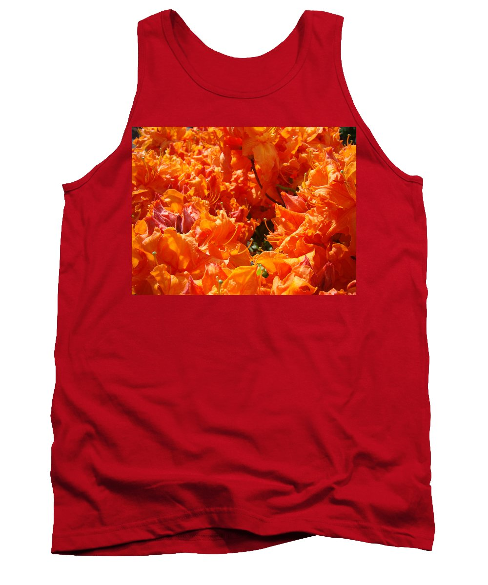 Rhodie Tank Top featuring the photograph Bright Orange Rhodies Art Prints Canvas Rhododendons Baslee Troutman by Baslee Troutman