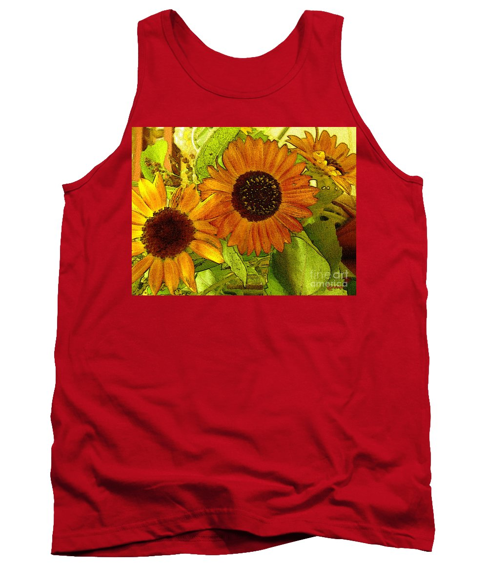 Sunflowers Tank Top featuring the digital art Bright Regalia by RC DeWinter