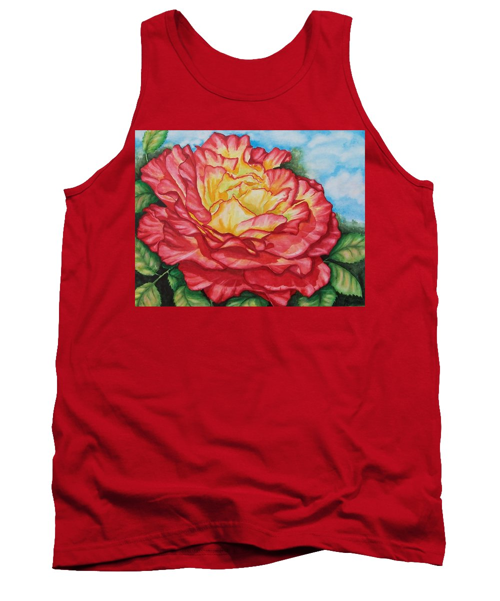 Rose Tank Top featuring the painting Brilliant Bloom by Conni Reinecke