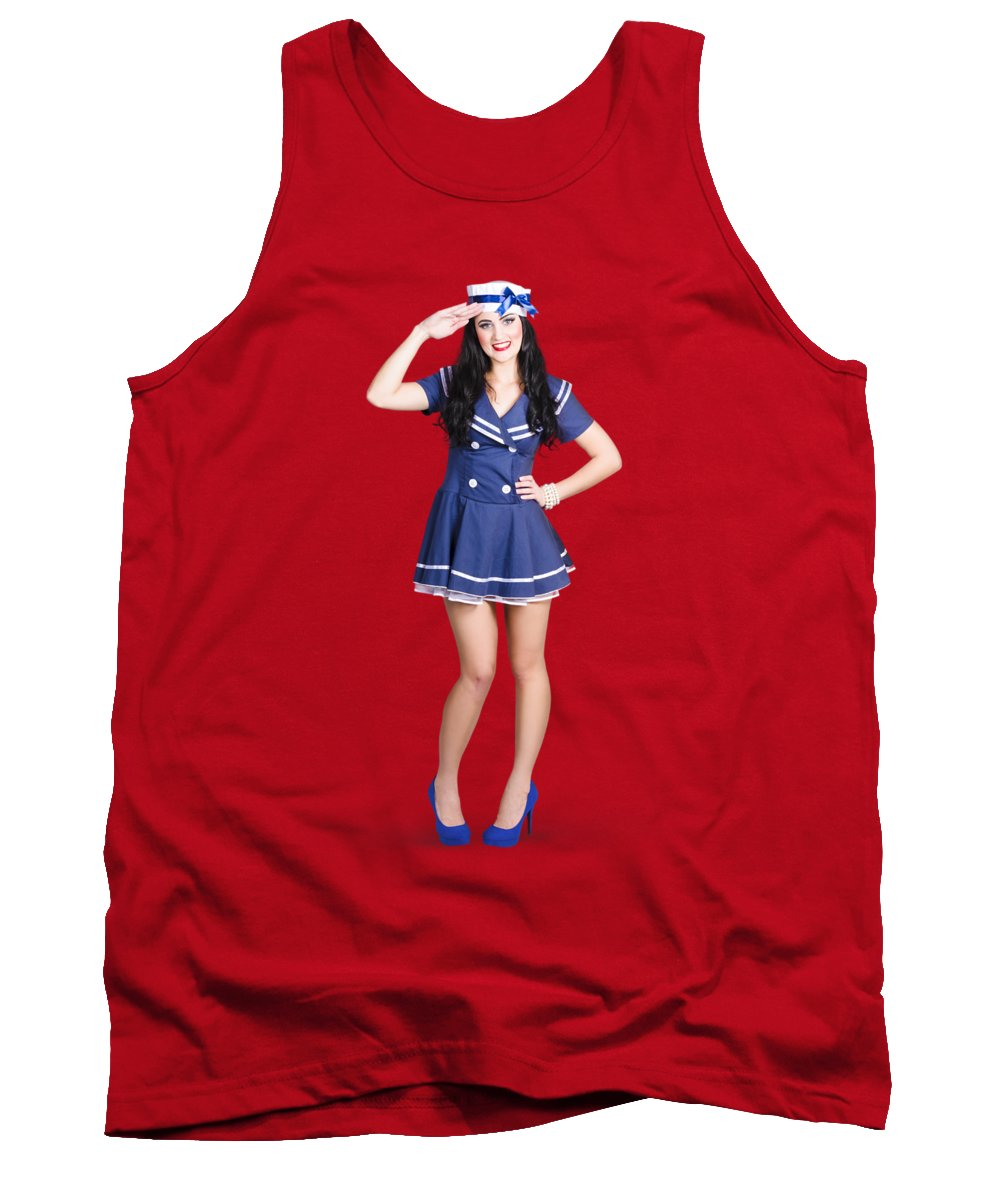 Sailor Tank Top featuring the photograph British Navy Blue Pin Up Girl Saluting by Jorgo Photography - Wall Art Gallery