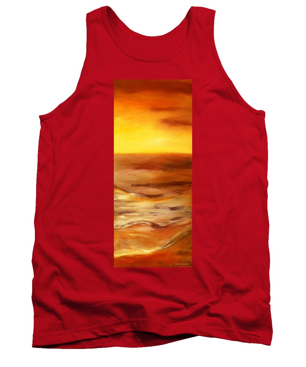 Sunset Paintings Tank Top featuring the painting Brushed 5 - Vertical Sunset by Gina De Gorna