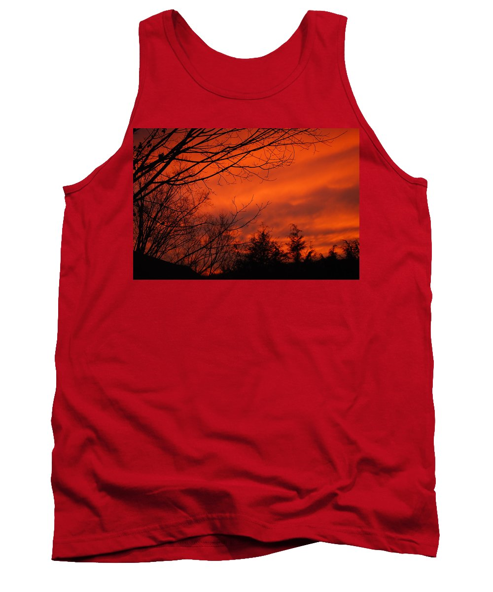 Landscape Tank Top featuring the photograph Burning Sky by Lori Tambakis