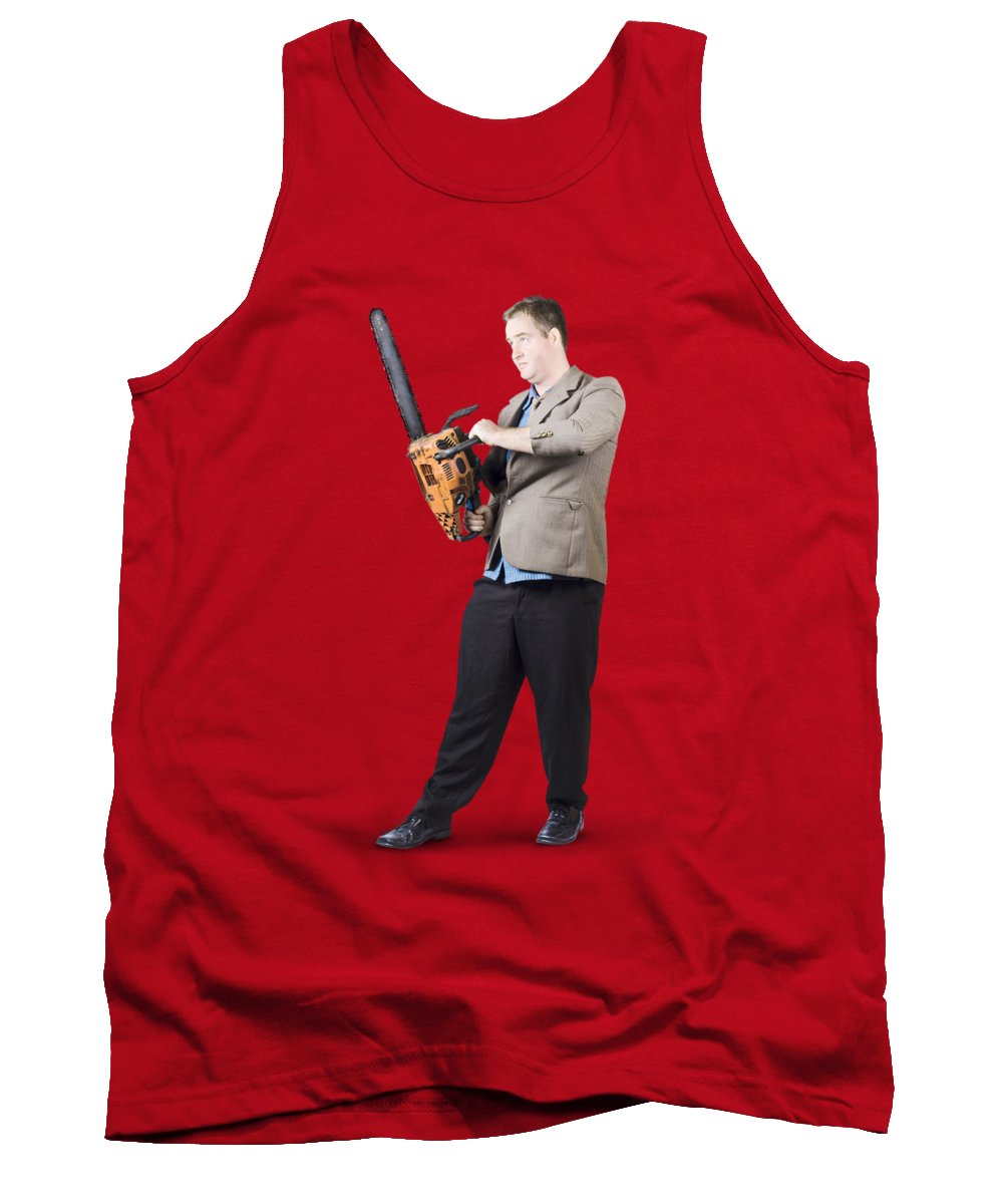 Chainsaw Tank Top featuring the photograph Businessman Holding Portable Chainsaw by Jorgo Photography - Wall Art Gallery