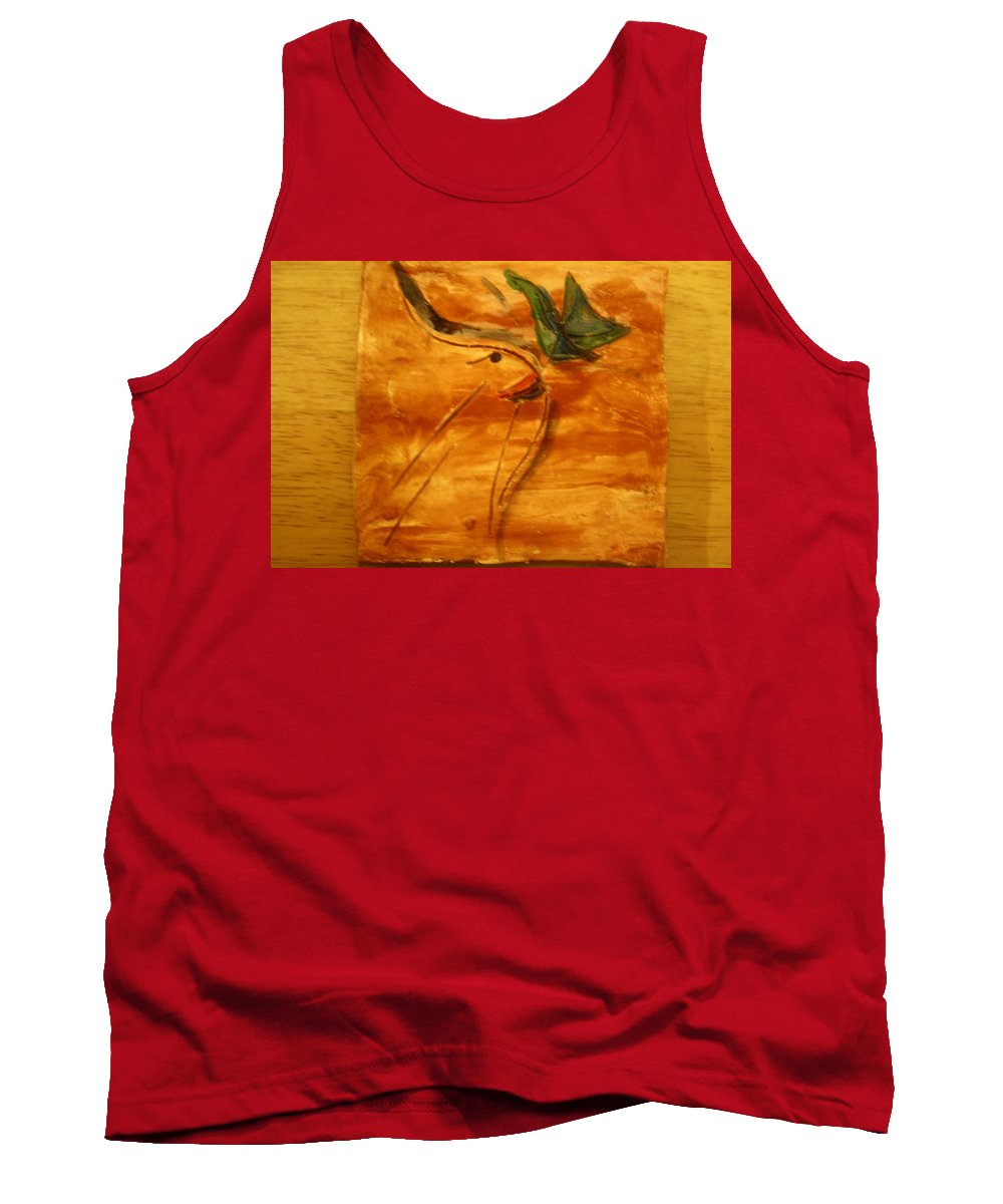 Jesus Tank Top featuring the ceramic art Butterfly Kiss - Tile by Gloria Ssali
