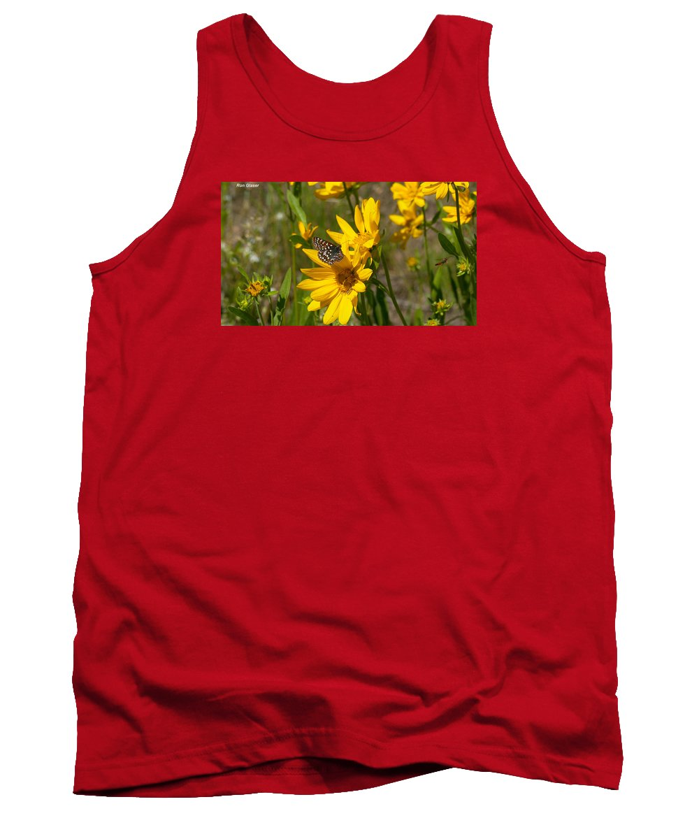 Ron Glaser Tank Top featuring the photograph Butterfly On Mule's Ear by Ron Glaser