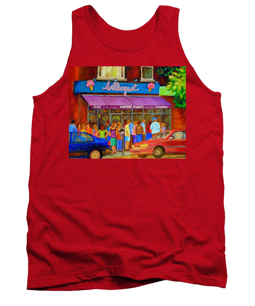 Cafe Bilboquet Tank Top featuring the painting Cafe Bilboquet Ice Cream Delight by Carole Spandau