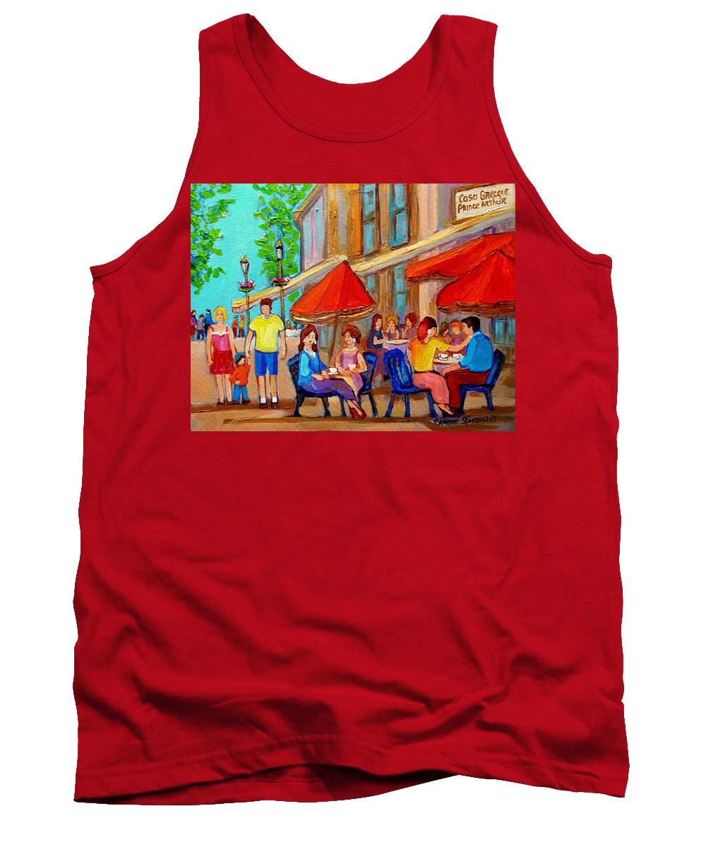 Cafescene Tank Top featuring the painting Cafe Casa Grecque Prince Arthur by Carole Spandau