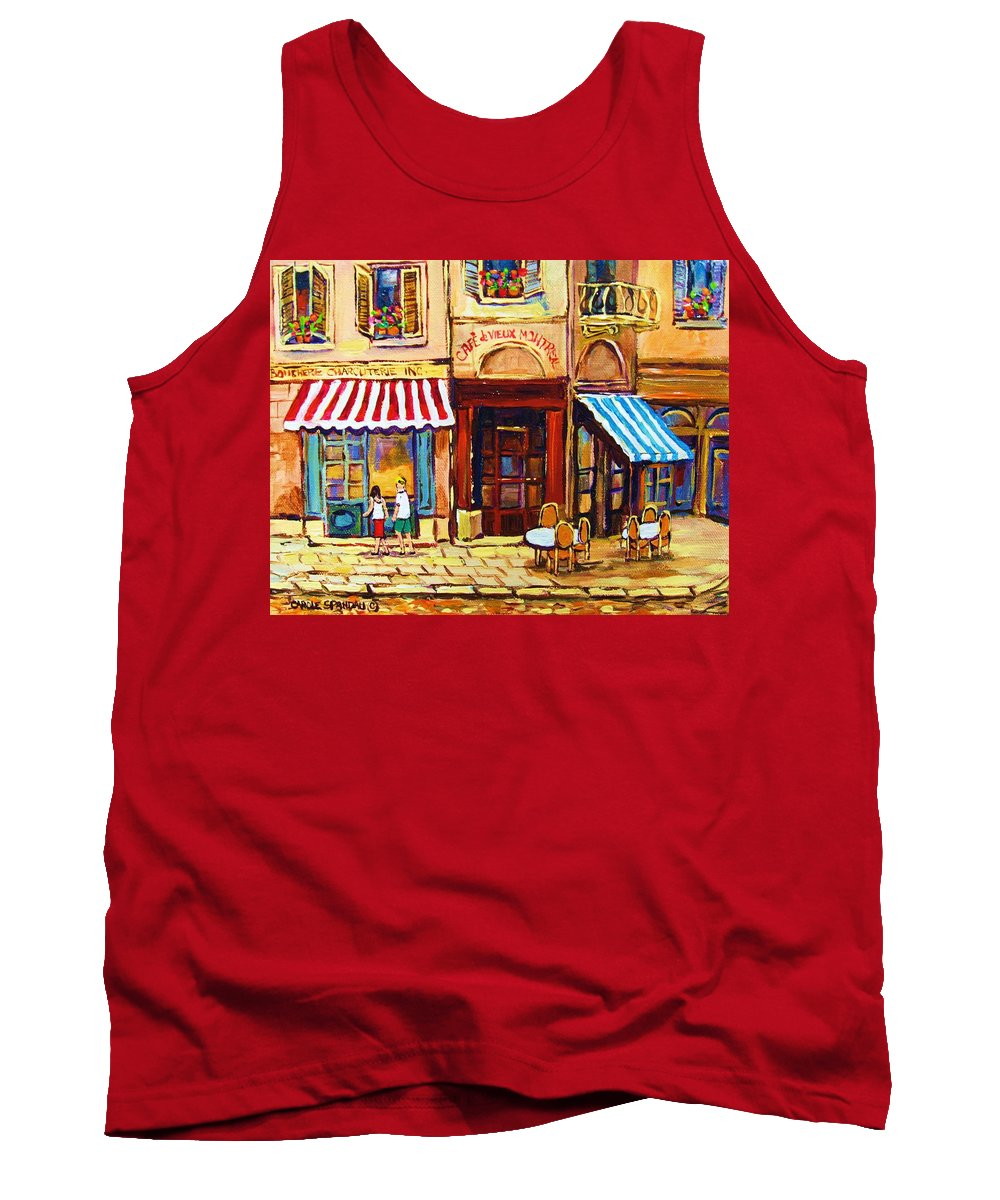 Old Montreal Outdoor Cafe City Scenes Tank Top featuring the painting Cafe De Vieux Montreal With Couple by Carole Spandau
