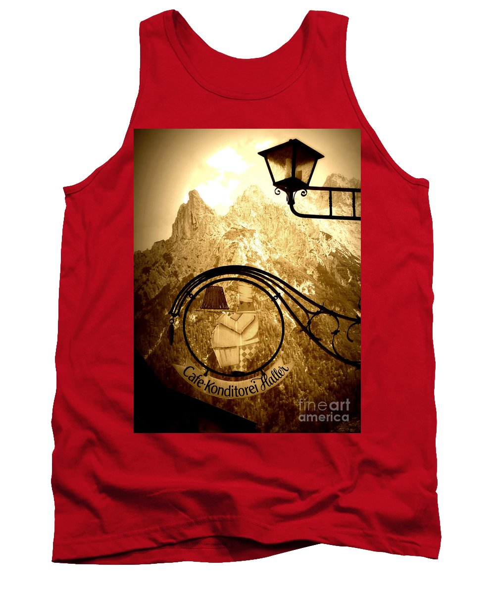 Cafe Sign Tank Top featuring the photograph Cafe Sign In Bavarian Alps by Carol Groenen