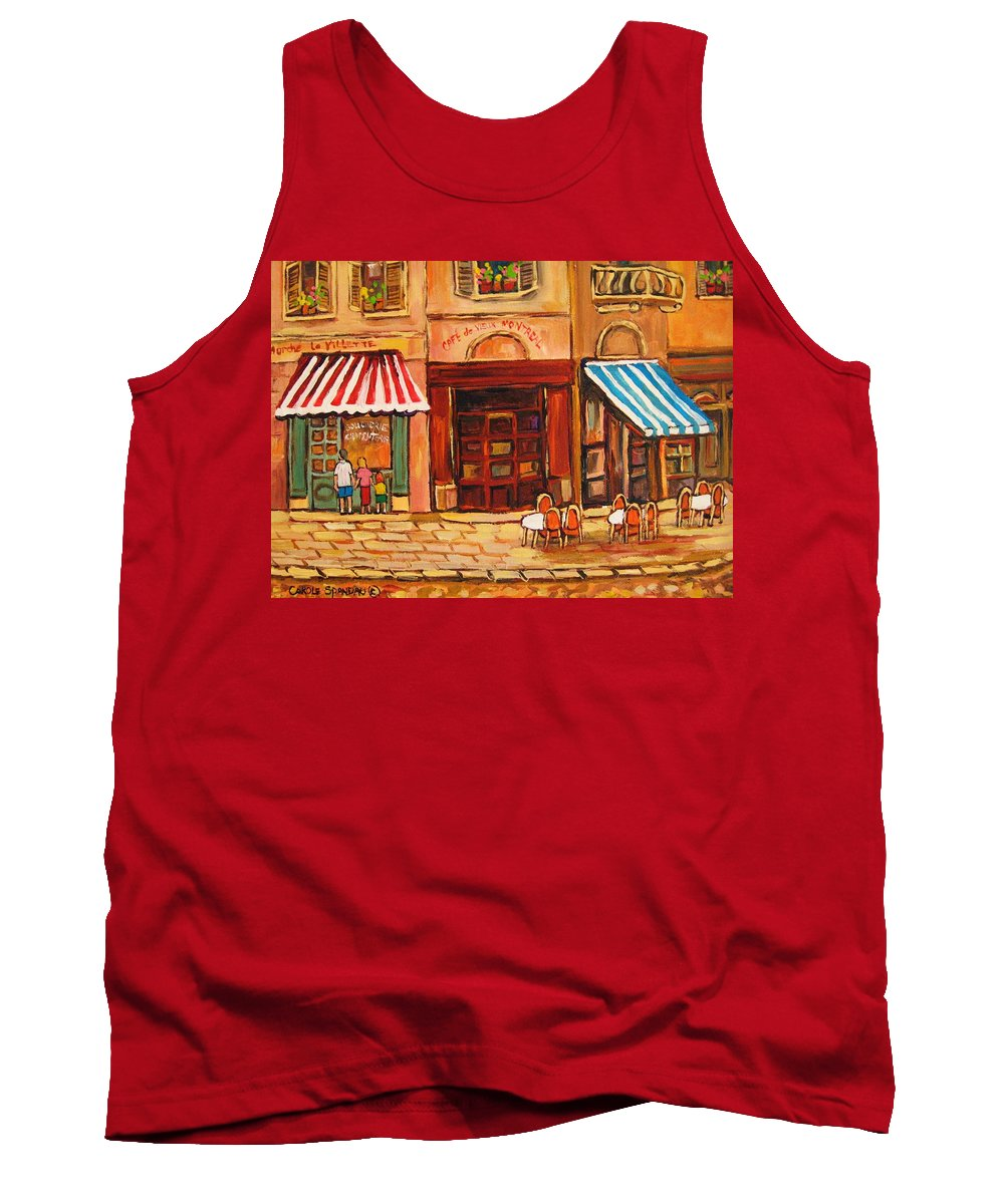 Cafe Vieux Montreal Street Scenes Tank Top featuring the painting Cafe Vieux Montreal by Carole Spandau