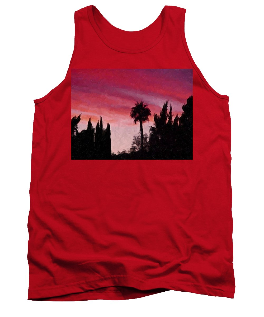 California Tank Top featuring the painting California Sunset Painting 1 by Teresa Mucha